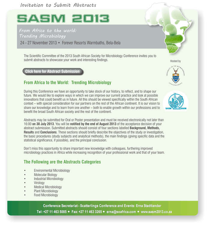 SASM2013 Abstract submission